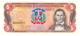 Dominican Republic 5 Pesos 1996 Low S/N G000057 UNC .C3. - Repubblica Dominicana
