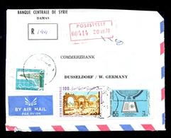 Letter Sent Registered By Air Mail From Syria To Germany. Header Of Banque Centrale De Syrie. / 2 Scans - Pakistan