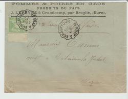 """CONVOYEUR : """" BERNAY à ECHAUFFOUR """"  Type 2 / Sage / LSC Produits Du Pays De 1900 Pour Villaines TB - Poste Ferroviaire"""