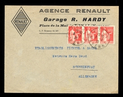 Letter With Header 'Agence Renault - Garage R. Hardy' Sent To Germany 1935 / 2 Scans - Pakistan