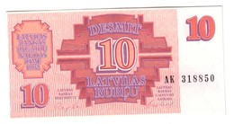 Latvia 10 Rublus 1992 UNC .C3. - Lettonia