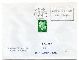 DROME - Dépt N° 26 = VALENCE RP 1970 = Flamme FD = SECAP  'Vallée Côtes Rhone Sites Touristiques Vins De SOLEIL ' - Marcofilia (sobres)
