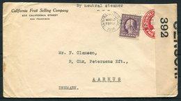 1916-18 USA 3 X Censor Uprated Stationery Covers - Denmark. Copenhagen Odense Hvam - United States