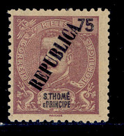 ! ! St. Thomas - 1913 King Carlos Local Republica 75 R - Af. 141 - MH - St. Thomas & Prince