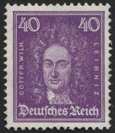 Dt. Reich 395 **, 1926, 40 Pf. Leibniz, üblich Gezähnt Pracht, Gepr. Schlegel, Mi. 160.- - Gebraucht