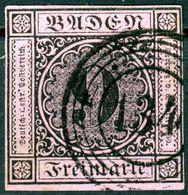 """""""134"""" Seltener Nummernstempel Klar Auf Vollrandiger Nr. 4 - Bade"""
