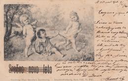 Angel Cupid Children Old Postcard Theo Stroefer Nurnberg 1900 - Anges