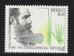 MONACO , 6 Frs , Centenaire De La Découverte Des Rayons X , 1995 , N° YT 1996 , NEUF ** - Neufs
