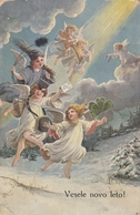 Angel Cupid Children Chimney Sweep Clover Old Postcard Signed Hartmann 1919 - Anges