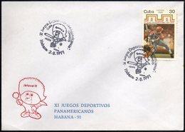 CUBA HABANA 1991 - XI JUEGOS DEPORTIVOS PANAMERICANOS - OFFICIAL ENVELOPE - Baseball