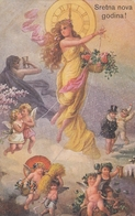 Angel Cupid Children Lady W Mushrooms Basket Art Mouveau Old Postcard 1923 - Anges
