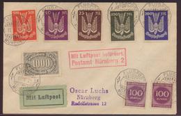 Flugpost D. Reich Brief Infla Holztaube 218 263-267 München Nürnberg  - Deutschland