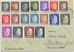 DR Satzbrief Ostland Mi.1-18 Rositten 8.3.44 Lettland - Occupation 1938-45