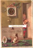 Chromo Coton PERNOLET - Pendule Chat Fillettes .-  Scans Recto Verso - Autres