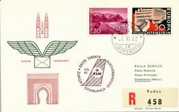 Liechtenstein / VADUZ - 1962 ,   Zuleitung  KLM  Erstflug Zürich-Casablanca  , R-Brief  Nach Casablanca - Poste Aérienne