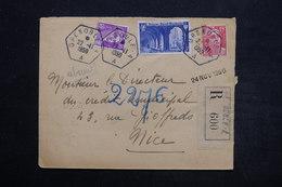 FRANCE - Enveloppe En Recommandé De Grenoble Pour Nice En 1950 - L 25535 - Marcophilie (Lettres)