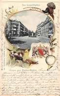 BADEN BADEN GERMANY~LEOPOLDEPLATZ~CHIEN HUNTER-HERALDIC SEAL-1904 PHOTO EMBOSSED GRUSS AUS POSTCARD 39664 - Baden-Baden