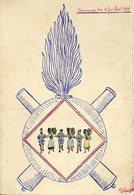 A VOIR ! MILITARIA 1919 CARTE FAITE MAINS COLMAR 152 ème REGIMENTS INFANTERIE ILLUSTRATEURS SOUVENIR GUERRE ALSACE - France