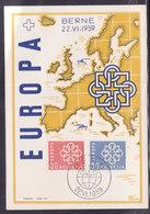 SUISSE,  Carte Europa 1959 (W 18/07.1) - FDC