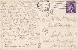 Böhmen & Mähren PPC Schönheit Une Belle PRAG Praha 1944 BERLIN-CHARLOTTENBURG Germany Hitler Stamp (2 Scans) - Occupation 1938-45