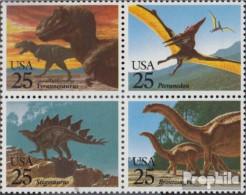 USA 2051-2054 Viererblock (kompl.Ausg.) Postfrisch 1989 Saurier - Etats-Unis