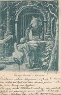 Angel Cupid Stork Storch Cicogne Old Postcard 1902 - Anges