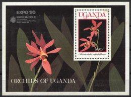 UGANDA, 1990, FLOWERS, ORCHIDS, YV#B.106, SS, MNH - Ouganda (1962-...)