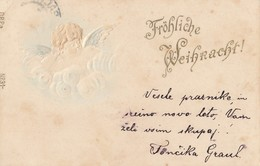 Angel Frohliche Weihnachten Christmas Old Embossed Postcard 1898 - Anges