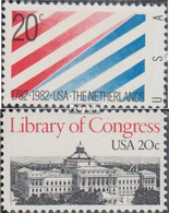 USA 1582,1583 (kompl.Ausg.) Postfrisch 1982 Niederlande, Bibliothek - Etats-Unis