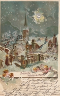 Angel Frohliche Weihnachten Christmas Old Litho Postcard 1899 - Anges