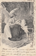 Guardian Angel Baby In Cradle Jack Russell Terrier Dog Old Postcard 1904 - Anges