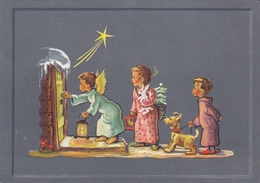 Angel Children Falling Star Comet Terrier Dog Christmas Postcard - Anges