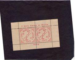 Sicilia Palermo   Erinnofilo 1° Giro Aereo Di Sicilia Dentellato Colore Rosa   Del 1949 - Erinnofilia