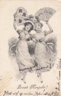 Prosit Neujahr New Year Ladies W Fan Clover Mushrooms Art Nouveau Old Postcard 1901 - Neujahr