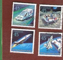 STATI UNITI (U.S.A.) - SG A2423.A2426  - 1989   AIR: U.P.U.CONGRESS (FUTURE MAIL TRANSPORT) COMPLET SET OF 4 - USED - Poste Aérienne