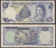 Cayman Islands 1 Dollar 1974 (F) Condition Banknote A/3 QEII - Iles Cayman