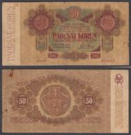 Czechoslovakia 50 Korun 1919 (VG) Condition Banknote P-10a RARE ORIGINAL - Tchécoslovaquie