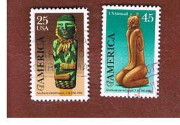 STATI UNITI (U.S.A.) - SG 2411.2412  - 1989  PRE-COLOMBIAN CARVINGS (COMPLET SET OF 2)  - USED - Etats-Unis