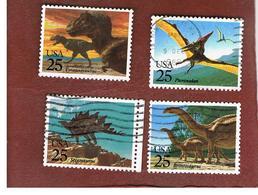 STATI UNITI (U.S.A.) - SG 2407.2410  - 1989  PREHISTORIC ANIMALS  (COMPLET SET OF 4)  - USED - Etats-Unis