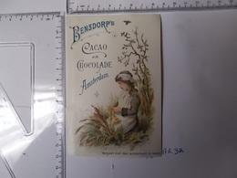 Chromo Cacao Bensdorp's-jeune Fille Dans L'herbe Photo Recto/verso - Chocolate