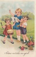 Children Trumpet & Drums Music Old Postcard 1941 - Enfants