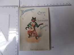 Chromo Cacao Bensdorp's - Chat Jouant Du Bandjo Photo Recto/verso - Chocolat
