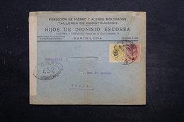 ESPAGNE - Enveloppe Commerciale De Barcelone Pour Paris En 1917 Avec Contrôle Postal - L 25558 - 1889-1931 Royaume: Alphonse XIII