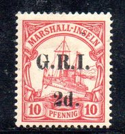 XP4413 - MARSHALL 1914 ,  Yvert 28 Nuovo  *  (2380A) . Occupazione Britannica GRI  (2380A) . - Colonie: Marshall