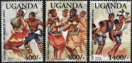 UGANDA, 2003, CULTURAL DANCES, YV#2158-60, MNH - Uganda (1962-...)