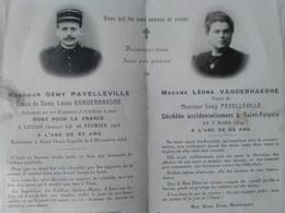 Saint Folquin - Saint Omer Capelle - Double Faire Part Décès D'un Adjudant Mort Le 28/02/16 Et Sa Femme. Voir Photo. - Décès