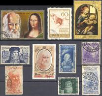 10 Used Stamps Different Countries About Leonardo Da Vinci/ - Arte