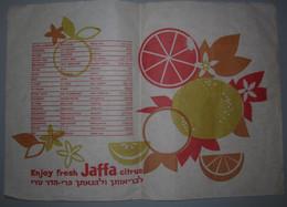 ISRAEL PALESTINE HOTEL GUEST REST HOUSE JAFFA JUICE CITRUS VINTAGE PAPER PLACEMAT NAPKIN SERVIETTE COASTER ADVERTISING - Advertising