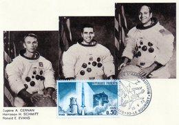 Carte 1er Jour Apollo 17(7-12--1972)-eugène A. Cernan Harrisson H. Schmitt Ronald E. Evans. - Espace