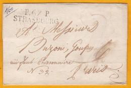 1814 - Marque Postale P67P  STRASBOURG, Alsace Sur Enveloppe Pliée Vers Paris - Port Payé - Cad Arrivée - Marcophilie (Lettres)